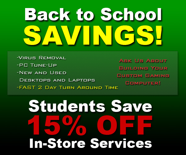 Virus Removal, Computer Repair, and Back to School Computer Savings in Lincoln, NE